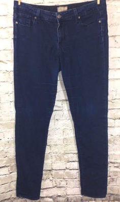 PAIGE Jeans 'Peg' Skinny Stretch Denim Sz 31 Dark Wash Low Rise W33 L32 Made USA #PaigeDenim #SlimSkinny