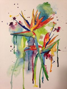 Birds of Paradise Giclee Print on watercolor by KristinDouglasART
