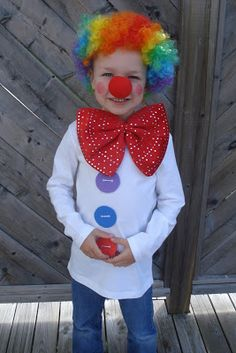 """Simple clown costume. You could make a """"no sew"""" version by gluing on the craft foam buttons."""