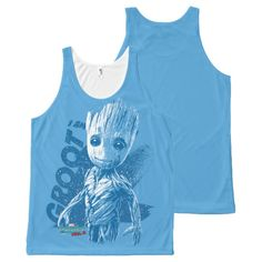 """Guardians of the Galaxy Vol. 2   """"I Am Groot"""" Blue All-Over-Print Tank Top   Marvel Comics Tank Tops For Teens and For Women   Marvel Fans"""
