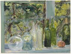 Menso Kamerlingh Onnes (1860 — 1925, Dutch) Windowsill with bottles, a glass bulb and an apple. ca. 1892 watercolor and gouache heightened with white on paper.