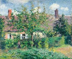 Reproduction Painting Camille Pissarro Peasant House at Eragny, Hand-Painted Reproductions Art Oil On Canvas Paul Cezanne, Pissaro Paintings, Camille Pissarro Paintings, Landscape Paintings, Gustave Courbet, Art Ancien, Impressionist Artists, Garden Painting, Art History
