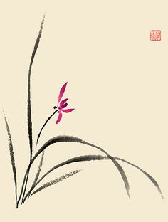 Artist Nan Rae - Cards, Prints, Lessons and Brush Painting Supplies Japanese Ink Painting, Sumi E Painting, Japanese Watercolor, Japan Painting, Chinese Painting, Watercolor Paintings, Chinese Flowers, Asian Flowers, Korean Art