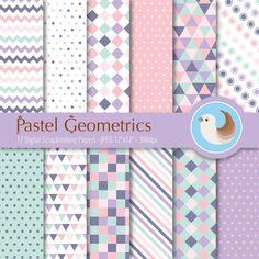 Pastel Digital Paper - Pink and Purple Digital Paper - Pink and Mint - Pastel Geometrics - Set of 12 Digital Scrapbooking Papers CinnamonDove 4.50 USD