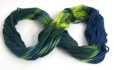 Blues apple green aquas tones Merino wool hand dyed by feltbasic