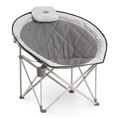 CORE Folding Oversized Padded Moon Round Saucer Chair with Carry Bag