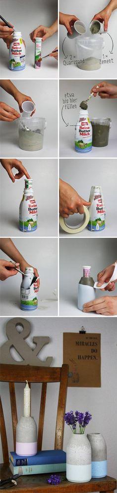 Florero fácil y minimalista con hormigón – Easy DIY Minimalist Concrete Vase Ya hemos visto aquí otros ejemplos para crear un florero o pequeñas macetas con hormigón o cemento. Este es un DIY que hemo