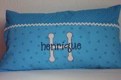 Babykissen mit Namen,  Spiralen-Blau von Comoara bebe auf DaWanda.com