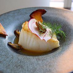 Chilean Seabass, Garlic Sherry Mussels, Drunken Trumpet Mushrooms In Bonito Dashi Broth