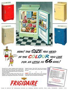 Frigidaire advertisement, April 1955. Pick your own color... Yellow Frigidaire, Jadeite Green Frigidaire, Blue Frigidaire, White Frigidaire...