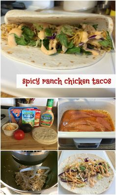 Kick up the flavor on taco night with these spicy ranch chicken tacos! Make your chicken in the slow cooker for an easy weeknight meal and then add some extra kick with Hidden Valley Ranch Sriracha #sponsored