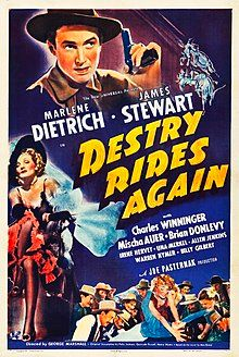 A poster for George Marshall's 1939 comedy 'Destry Rides Again' starring Marlene Dietrich and James Stewart Western Film, Western Movies, Marlene Dietrich, Hollywood Cinema, Hollywood Actor, Classic Hollywood, Janet Leigh, Classic Movie Posters, Classic Movies