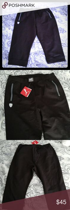 Brand new Puma Ferrari sweat pants New with tags black Puma Ferrari 3/4 Sweat pants size S Puma Pants