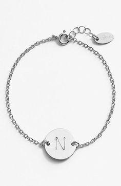 Sterling Silver Initial Disc Bracelet