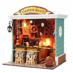 Barra de DIY casa de muñecas, capitán Bar house, casa de muñecas madera miniatura Kit con luz