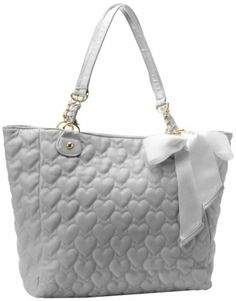 Betsey Johnson Mine & Yours Grey Gray Quilted Hearts Love Tote Handbag Bag Bow