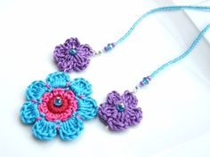 SET - Purple and Turquoise Crochet Daisies Pendant Necklace