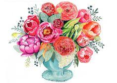 Tulip and Peonie Bouquet in a Blue Vase - Watercolor Print -NEW! – April Preston Design