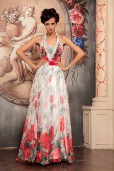légant Code étoiles Slim robe florale du soir