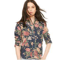 Floral Corduroy Western Shirt