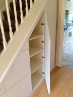 In order to maximise your space all our under stairs units are custom made specifically for each house we visit. Stair Shelves, Staircase Storage, Attic Storage, Storage Spaces, Shelving, Closet Storage, Diy Understairs Storage, Storage Ideas, Shelves Under Stairs