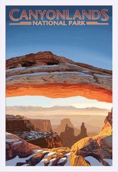 Canyonlands National Park, Utah - Arch - Lantern Press Artwork (24x36 Giclee Art Print, Gallery Framed, White Wood), Multi