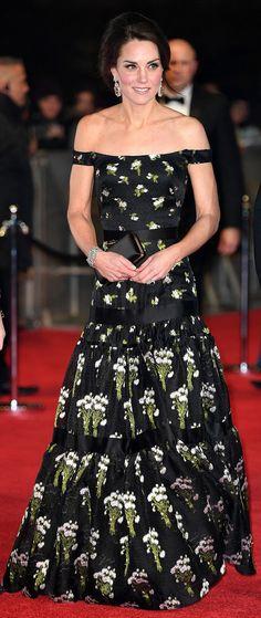 Kate Middleton in Alexander McQueen  http://www.dailymail.co.uk/tvshowbiz/article-4217596/The-Duke-Duchess-Cambridge-attend-BAFTAs.html