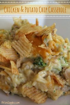 Chicken and Potato Chip Casserole - chicken, rice and broccoli covered in melted cheese and crisp potato chips! #bitzngiggles #chicken #potatochips #chips #casserole #chickenandrice #rice #cheesy