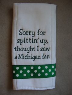 Michigan State Burp Cloth by CoughlinCrafts on Etsy, $12.00