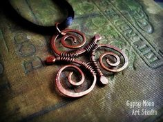 Celtic Triskele copper wire wrapped pendant by GypsyMoonArt, $30.00: