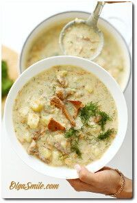 Soup with mushrooms Polish Recipes, Polish Food, Cheeseburger Chowder, Soup Recipes, Stuffed Mushrooms, Favorite Recipes, Dinner, Cooking, Anna