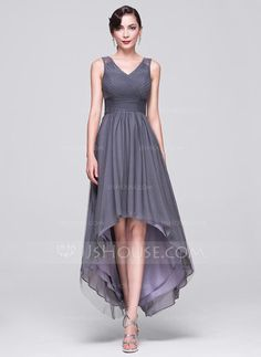 A-Line/Princess V-neck Asymmetrical Tulle Evening Dress With Ruffle Beading Sequins (017070268) - JJsHouse