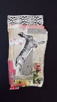 Leaping Hare Picture by MrsBertimus on Etsy, Machine Embroidery Applique, Hand Embroidery Patterns, Embroidery Art, Hare Pictures, Stitch Witchery, Contemporary Embroidery, Rabbit Art, Crochet Quilt, Thread Painting