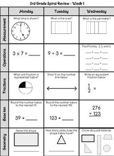 This is a set of worksheets for the third grade math ...