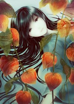 Girl with those little orange plant things..  Chinese lattern!  :) -- you mean houzuki containers (like from xxxHOLiC)?