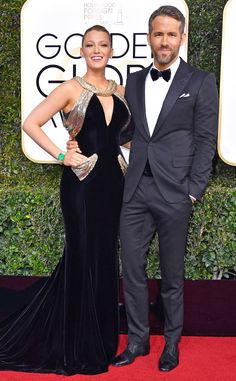 Blake Lively & Ryan Reynolds from 2017 Golden Globes: Red Carpet Couples  Mic drop! The stunning stars turn the heat all the way up on award night.