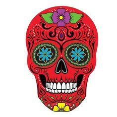 Sugar Skull Tattoos, Sugar Skulls, Blue Orange, Red And Blue, Sugar Skull Artwork, Skull Crafts, Colorful Skulls, Tree Wall Decor, Butterfly Wall Art