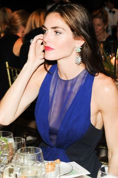 Fashion pics from inside the annual New Yorkers For Children Fall Gala, with guests like Hilary Rhoda and the DANNIJO girls. Nyc Fall, Hilary Rhoda, Blue Gown, Jewel Tones, Fashion Pictures, Supermodels, Claire, Beautiful People, Hair Makeup