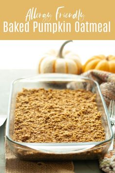 Warm, hearty and filling this baked pumpkin oatmeal will be the best start to chilly fall mornings. This makes a large pan, so this is great for sharing, or breakfast prep to last all week. This allergy friendly breakfast recipe has options to make it free from: gluten, dairy, eggs, soy, peanuts and tree nuts, making it great for most eaters! Recipe by: AllergyAwesomeness.com