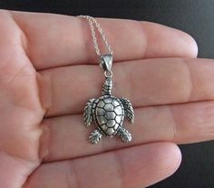 Exquisite Sea Turtle Necklace Sterling Silver Free by montanajewel, $36.00