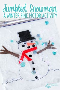 Challenge your toddler or preschoolers fine motor skills with this winter-themed sensory bag. You can find all the supplies you need to make your own Jumbled Snowman at the Dollar Store, and put it together in less than 5 minutes. Your kids will be entert