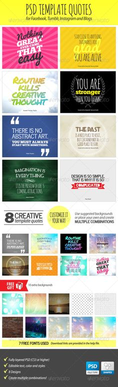 PSD Template Quotes - Miscellaneous Social Media  | Google Adwords Banners, Static Banners, banner pack, banner set, banners adwords, marketing, advertising, web banners