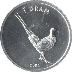1 Dram #Nagorno-Karabakh  2004 Raffigura il Fagiano di Reeves: l'uccello con la coda più lunga del mondo.