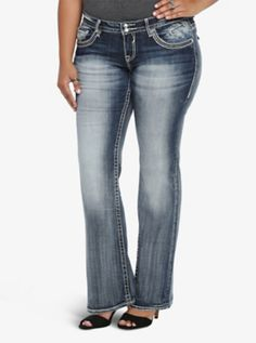 Vigoss New York Boot Jean - Dark Wash with Embroidery