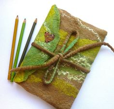 Hand Made Felt Journal Cover Diary Cover in Forest by sesenarts, $38.00: