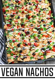 Easy and satisfying – these Fully Loaded Vegan Nachos are a hit with a hungry crowd! The combination of crispy tortilla chips, melted nacho cheese, tangy sour cream, and fresh toppings will make them disappear fast! Vegan Party Food, Vegan Lunch Recipes, Delicious Vegan Recipes, Vegan Dinners, Vegan Vegetarian, Mexican Food Recipes, Bean Recipes, Vegan Foods, Healthy Eating Tips
