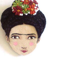 Felt brooch - Frida Kahlo, black, green, orange, burgundy, woman face on Etsy, Sold