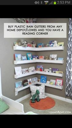Kids reading corner, plastic guttering shelves!