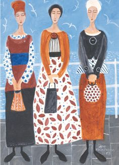 'Three Ladies' By Painter Dee Nickerson. Blank Art Cards bY Green Pebble. www.greenpebble.co.uk