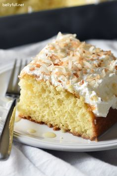 This Creamy Coconut Cake is a triple coconut treat! Buttery cake is infused with a luscious cream of coconut and condensed milk mixture, then covered in coconut whipped topping and toasted coconut.